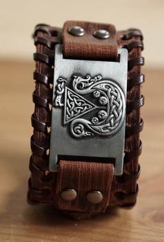 """Leren bruine armband  """" Vikingschip """""""