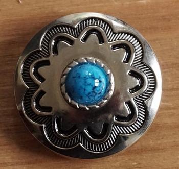 """Concho  """" Ster met blauwe steen """" zilverkleurig"""