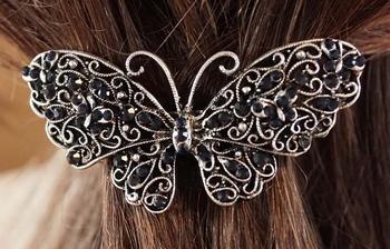 """Haarspeld  """" Vlinder met strass  """"  zilverkleurig / blauw"""