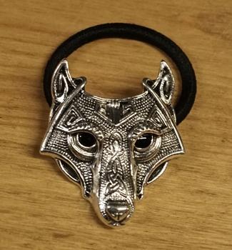 """Haarelastiek  """" Keltische wolf """"  nikkelkleurig"""