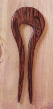 """Haar stok voor knot """" Bolling met siergaatje """" bruin"""