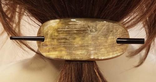 """Hoorn haarspeld met stokje """" Ovaal """" camel"""