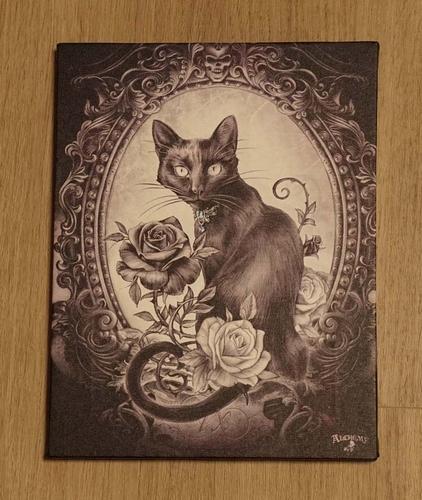 """Anne Stokes wanddecoratie  """" Kat met rozen """""""