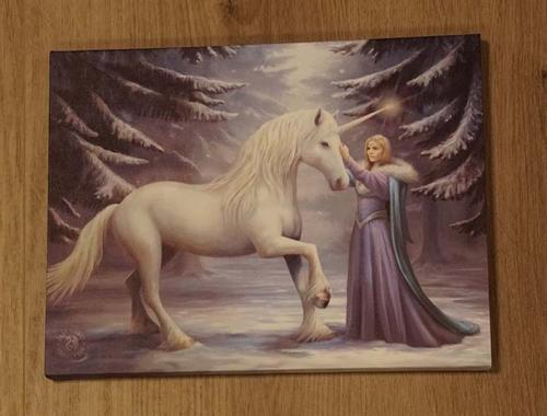 """Anne Stokes wanddecoratie  """" Eenhoorn met vrouw """""""