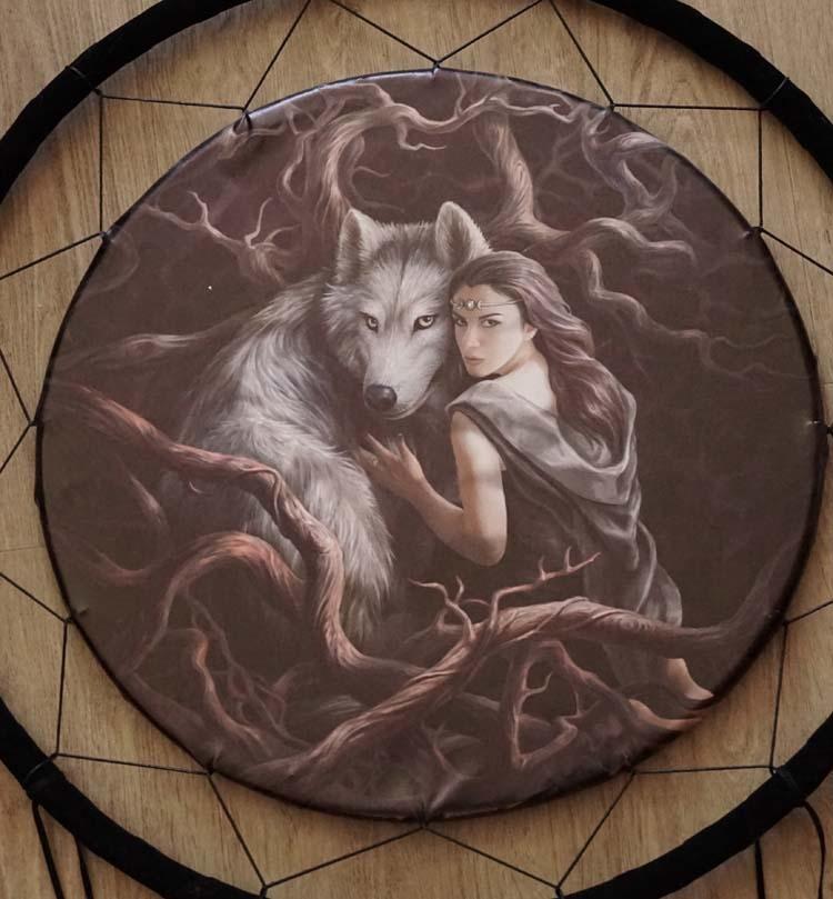 """Anne Stokes dreamcatcher """" Wolf met keltische dame """""""