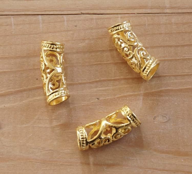 """Baard kralen """" Keltische knoop """" goudkleurig  12 stuks"""