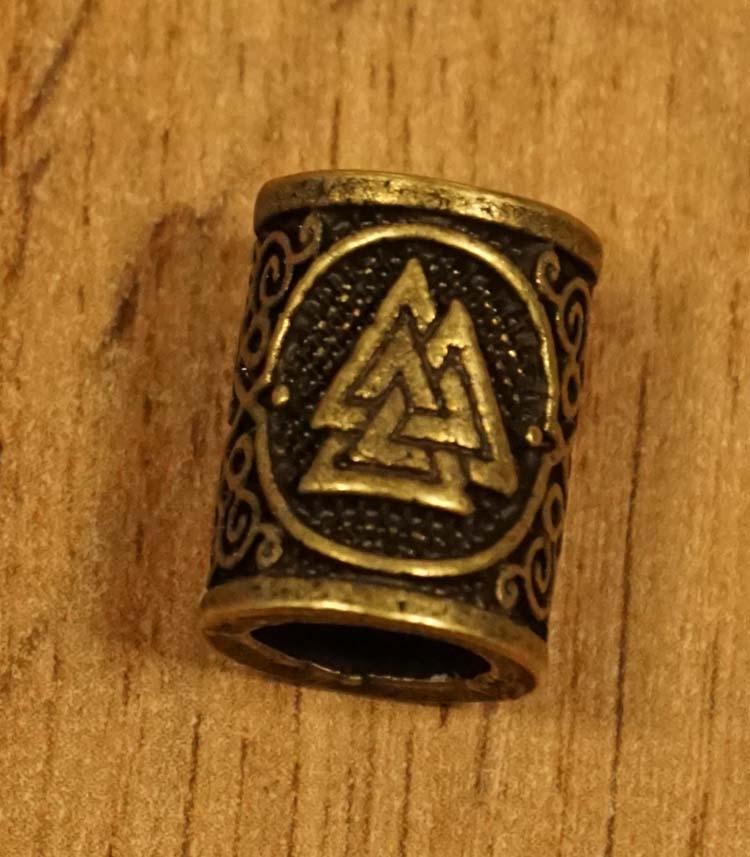 """Baardkraal  """" Keltische driehoek """" koperkleurig per stuk"""