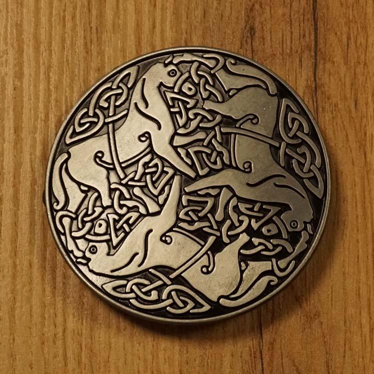 """Belt Buckle  """" 3 Keltische paarden """""""