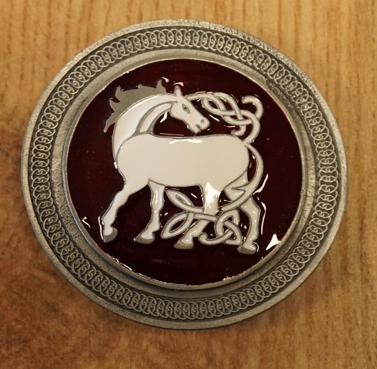 """Belt Buckle  """" Keltische paard """"  rood"""