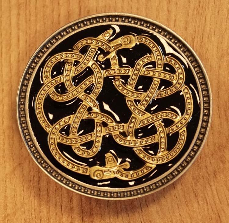 """Buckle  """" Oneindige keltische slang """" zwart / goudkleurig"""