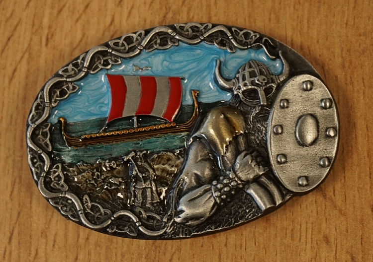 "Buckle / gesp  "" Viking krijger + vikingschip """