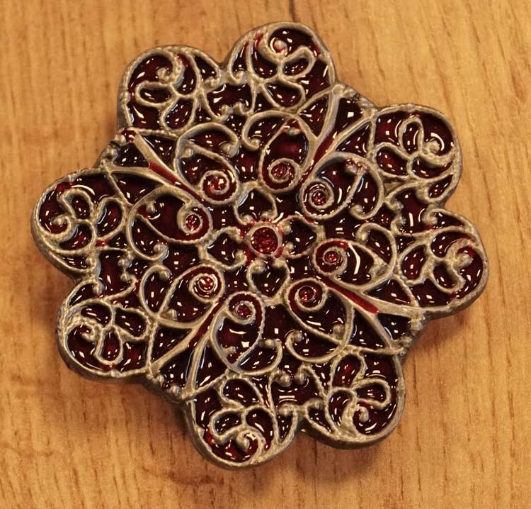 """Buckle """" Keltische bloem """" rood"""