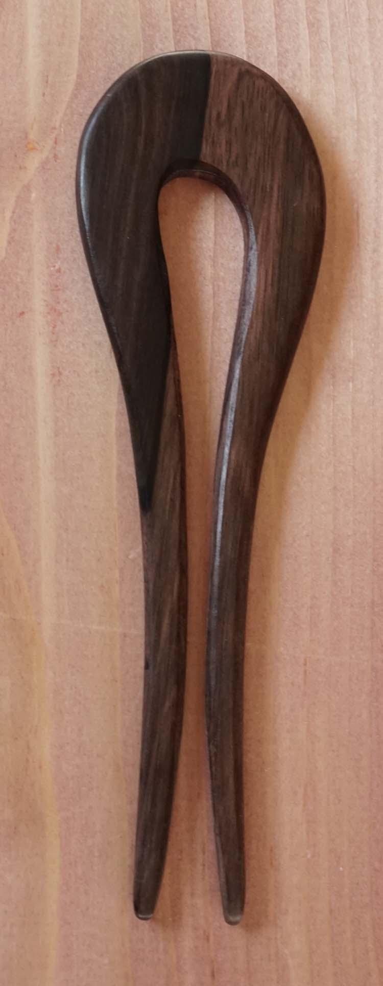 """Haar stok voor knot """" Bolling met 2 poten """" bruin"""