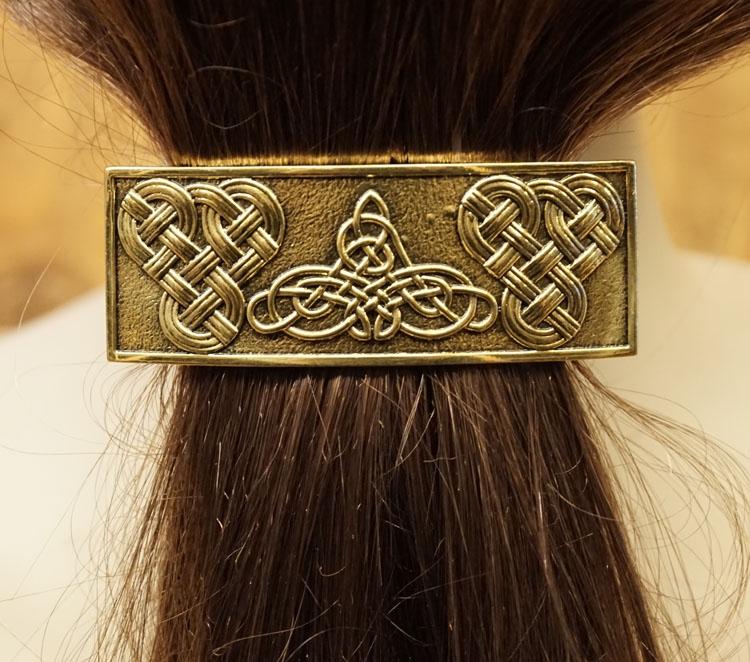 """Haarclip  """" 3 Keltische knopen """"   Koperkleurig"""