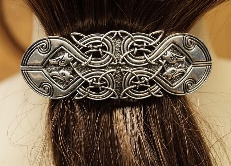 """Haarclip  """" 4 Celtic birds """"  Zilverkleurig"""