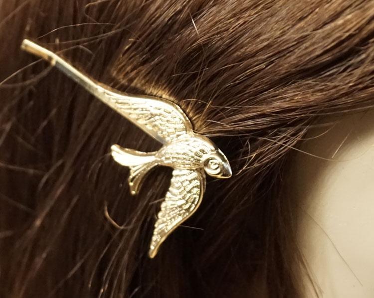 """Haarschuifje  """" Vogel """"  goudkleurig"""