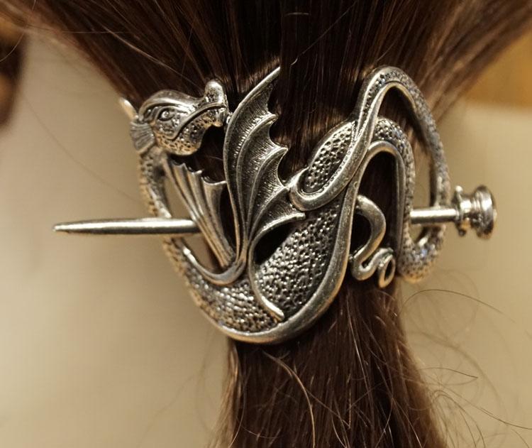 """Haarspeld  """" Draak met vleugels omhoog """""""