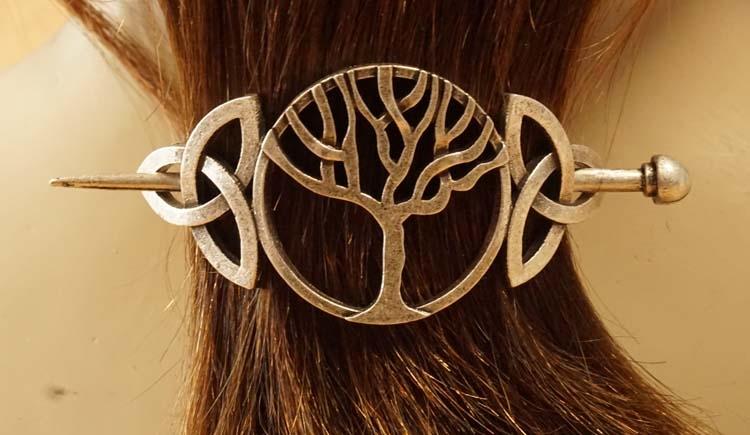 """Haarspeld met haarstokje  """" Levensboom + keltische knopen """""""