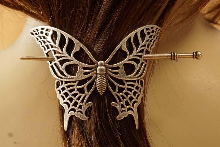 "Haarspeld met haarstokje  "" Vlinder """