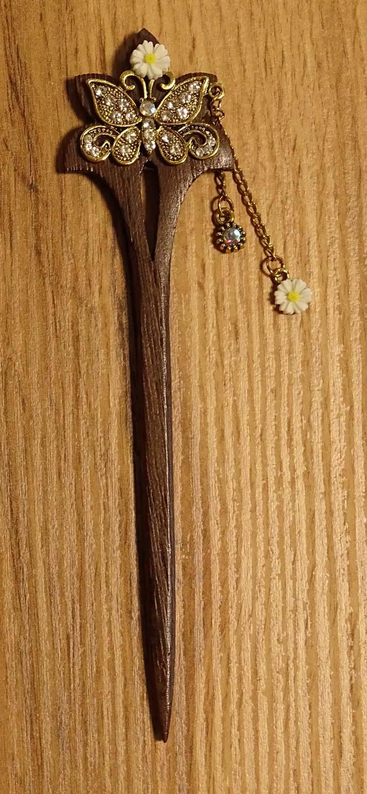 """Haarstokje   """" Vlinder met gouden strass """""""