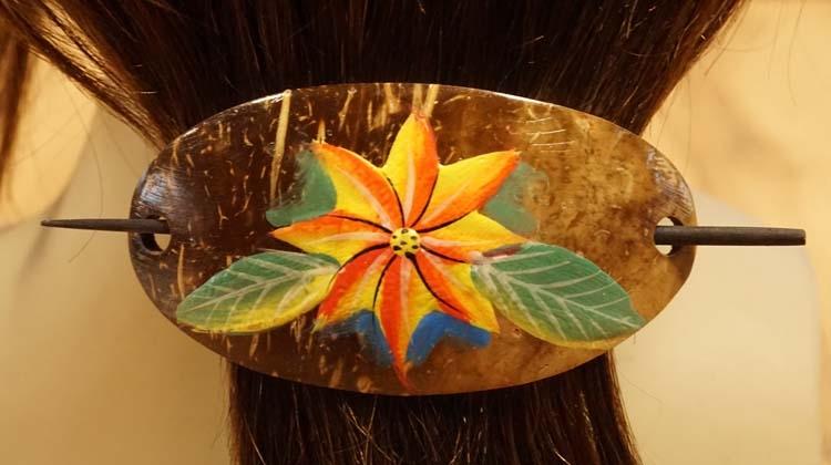 """Houten haarspeld met haarstokje  """" Oranje bloem """""""