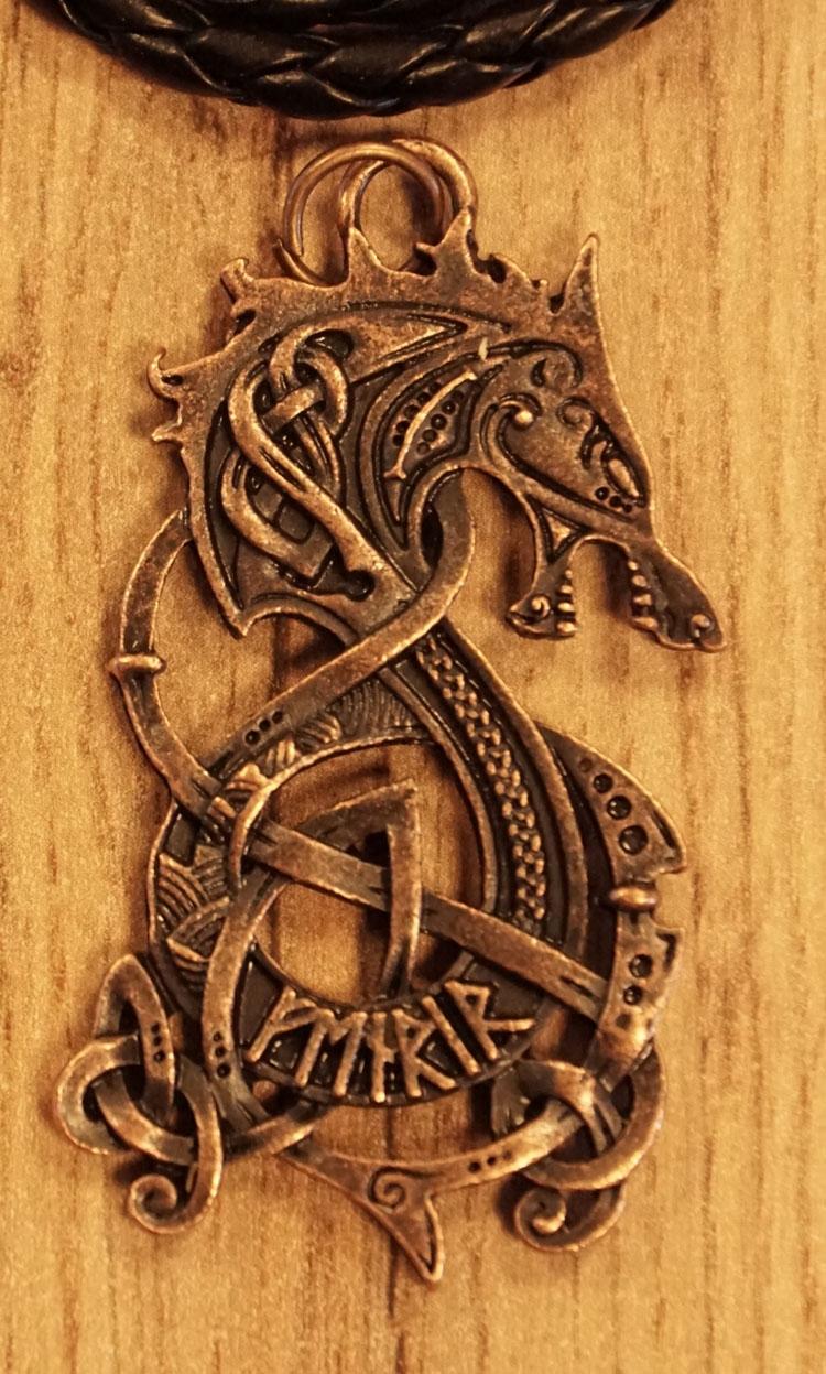 """Ketting  """" Keltische draak """"  brons kleurig"""