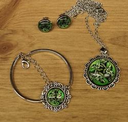 """Sieraden set  """" 3 Keltische honden  """"  groen"""
