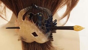 Hoorn haarspeld met stokje